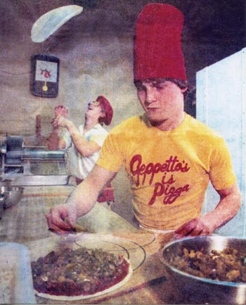 Dave Hoy making pizza at Geppetto's in the 80s.